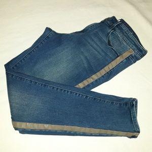 Coldwater Creek Jeans Size 12 Faux Leather Stripe